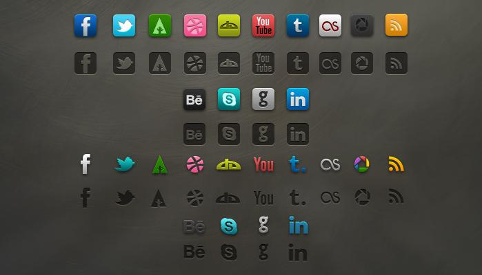 Editable layered social icon set (psd)