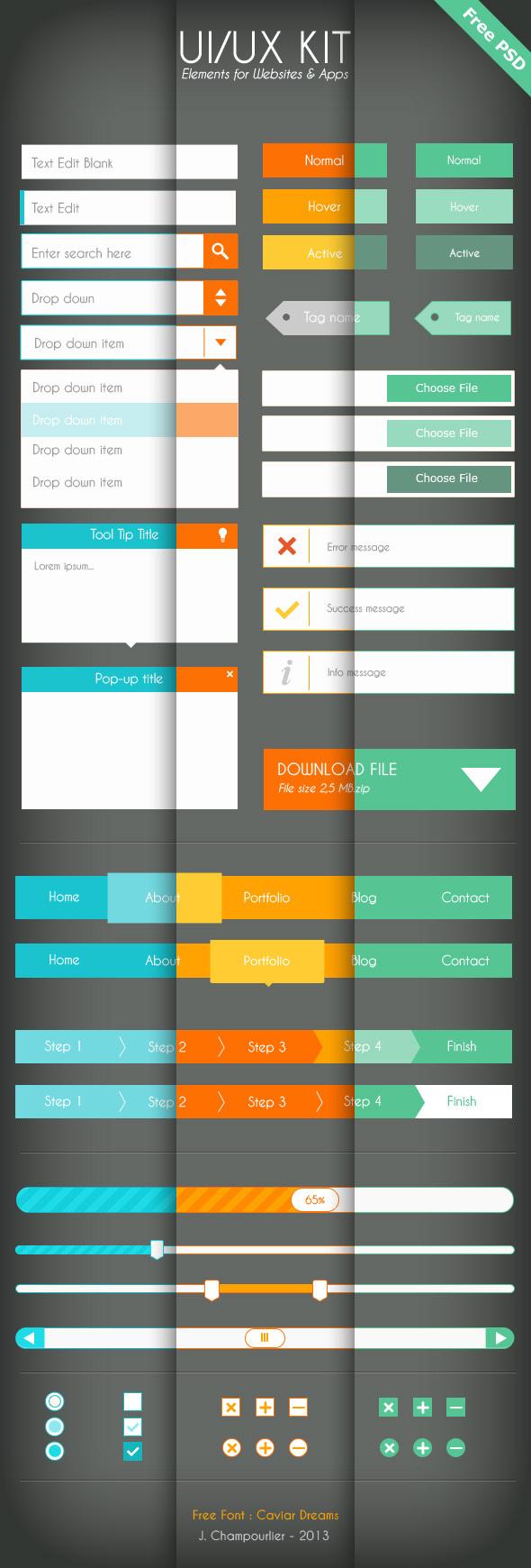 UI UX Kit Elements For Website APP (PSD)