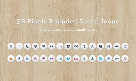 32 pixels round social icons