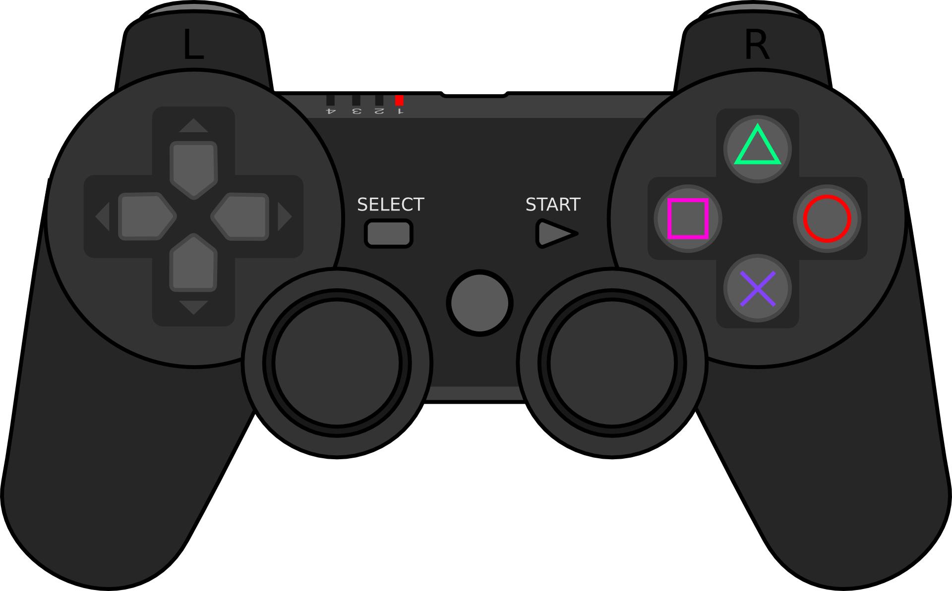 Black gamepad icon,joystick outline, controller vector ...