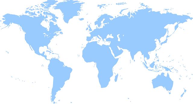 Blue world map free vector