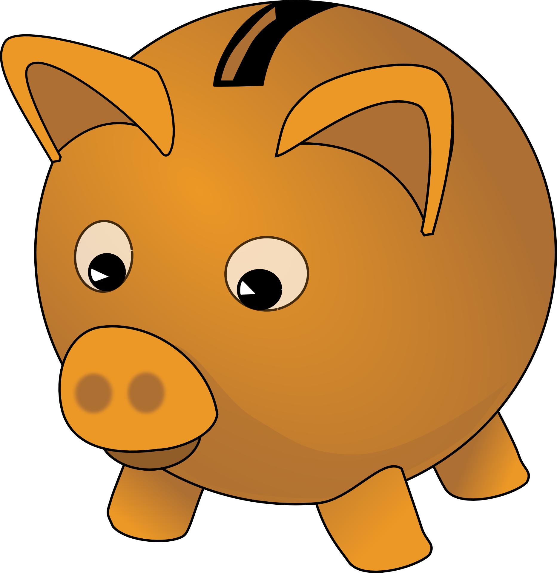 Brown piggy bank for children-cartoon vector