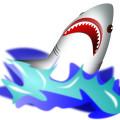Cartoon animal,shark vector,ocean,waves