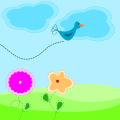 Cartoon bird flowers scene vector