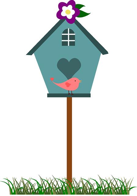 Cartoon bird house vector