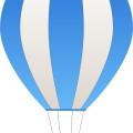 Cartoon blue white hot air balloon vector