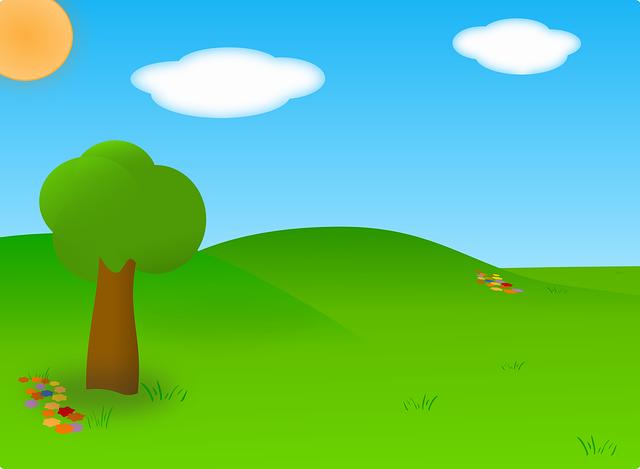 Cartoon bluesky white cloud green grass vector