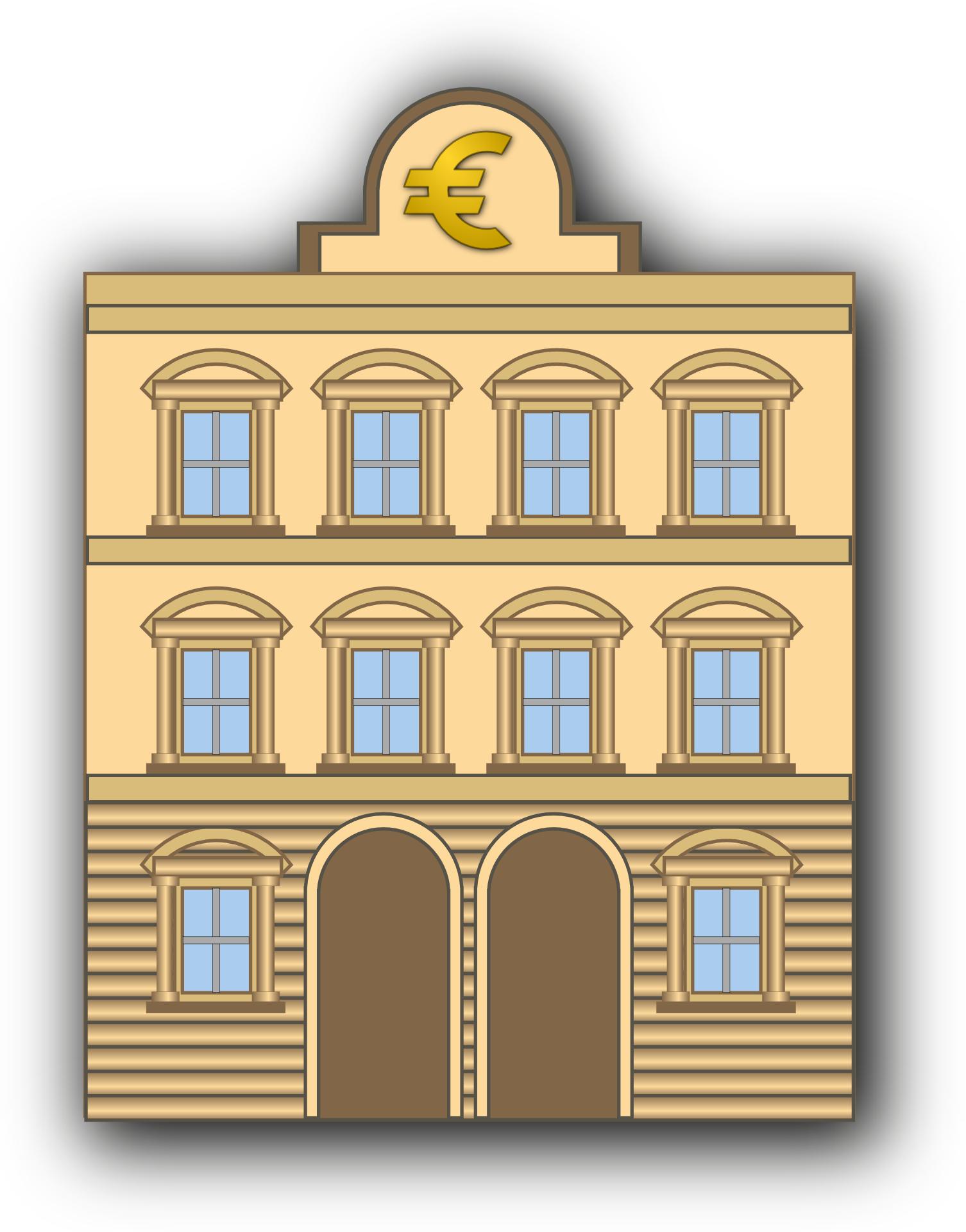Cartoon Building Sign, Bank Of European Vector