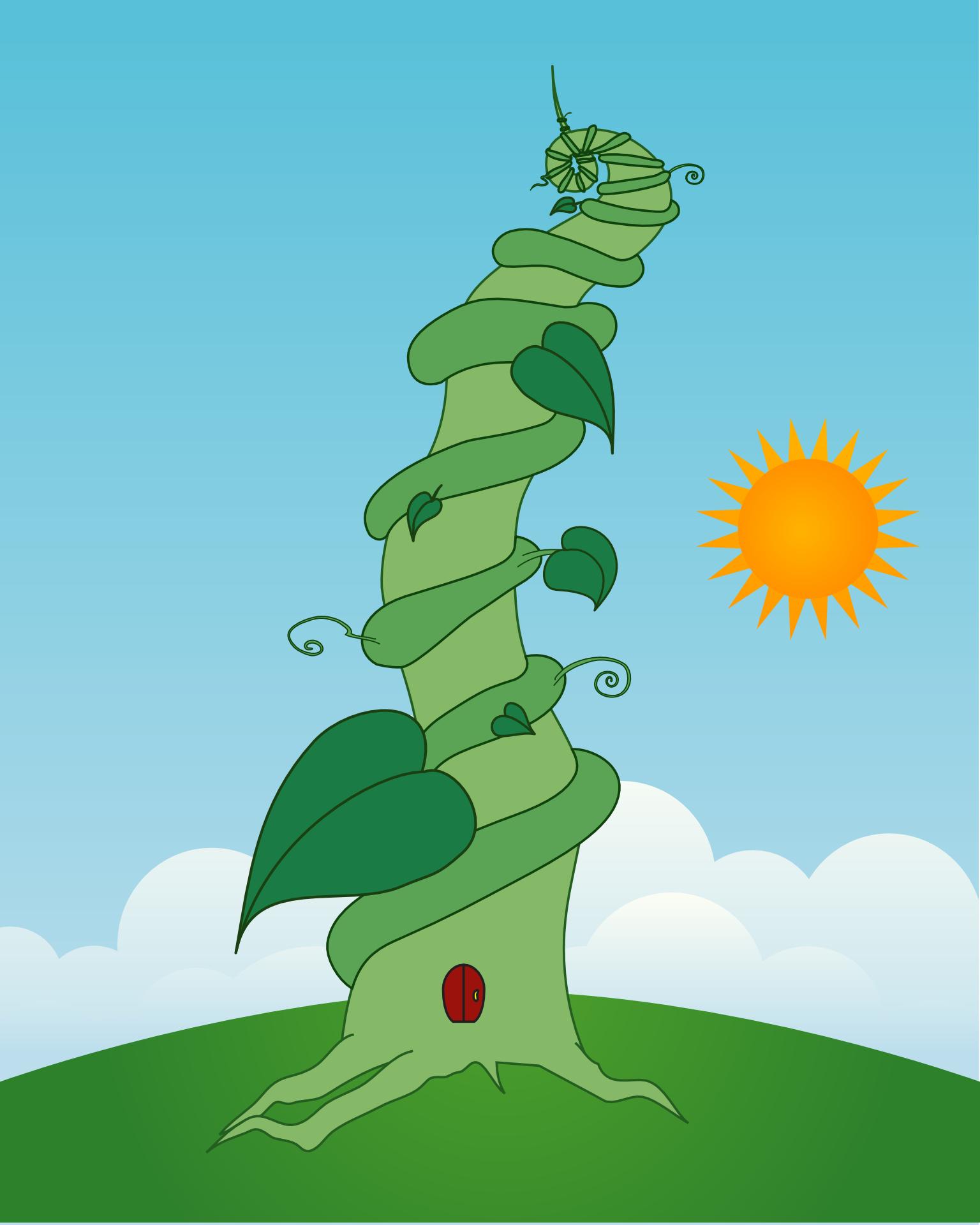 Cartoon green plant and sun cloud vector