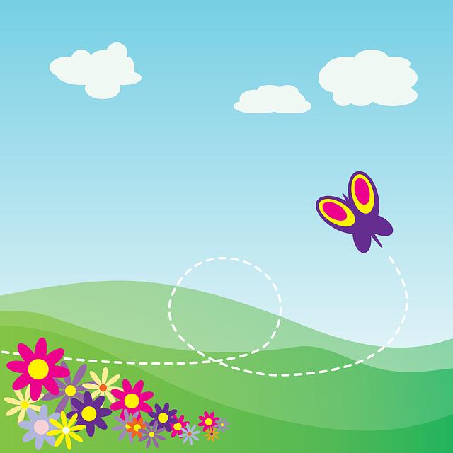 Cartoon landscape – blue sky & butterfly & flower