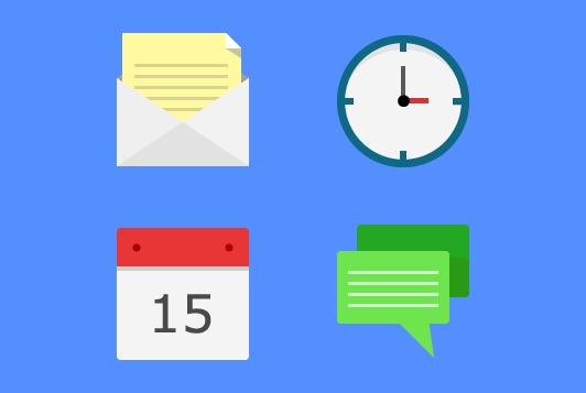 Flat icons vector-Letter,Clock,Calendar
