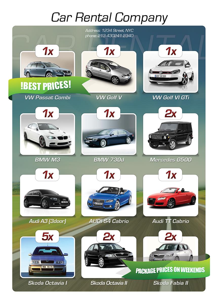 Free Car Rental Flyer PSD – Car Flyers