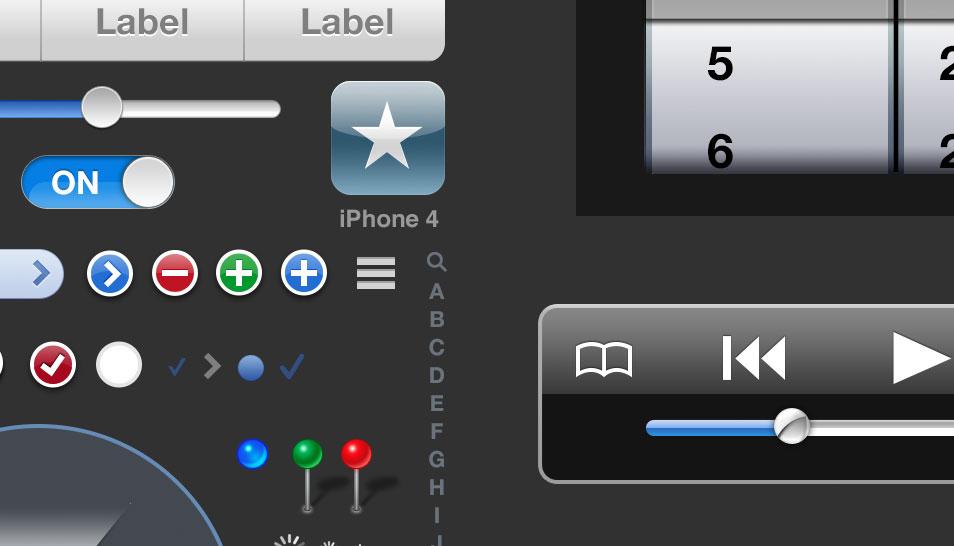 Free iOS 5 iPhone PSD-Mockup Pixel iPhone App Designs