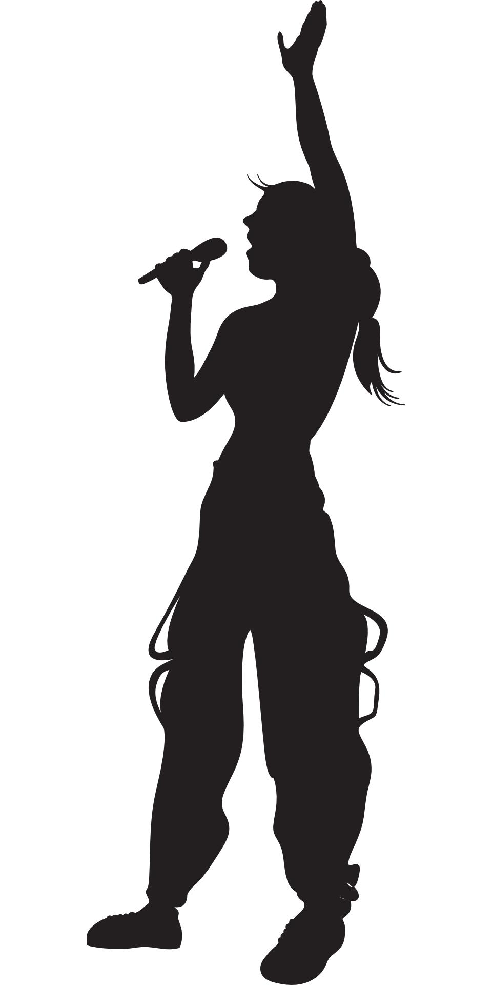 Girl, singing ,silhouette vector