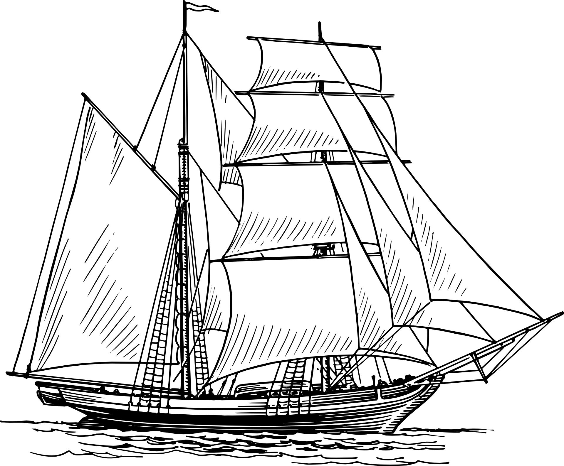 Hand drawing,sail boat vector,ship,sea