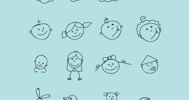 Handmade Doodles Kids Facial Expressions Free Vector