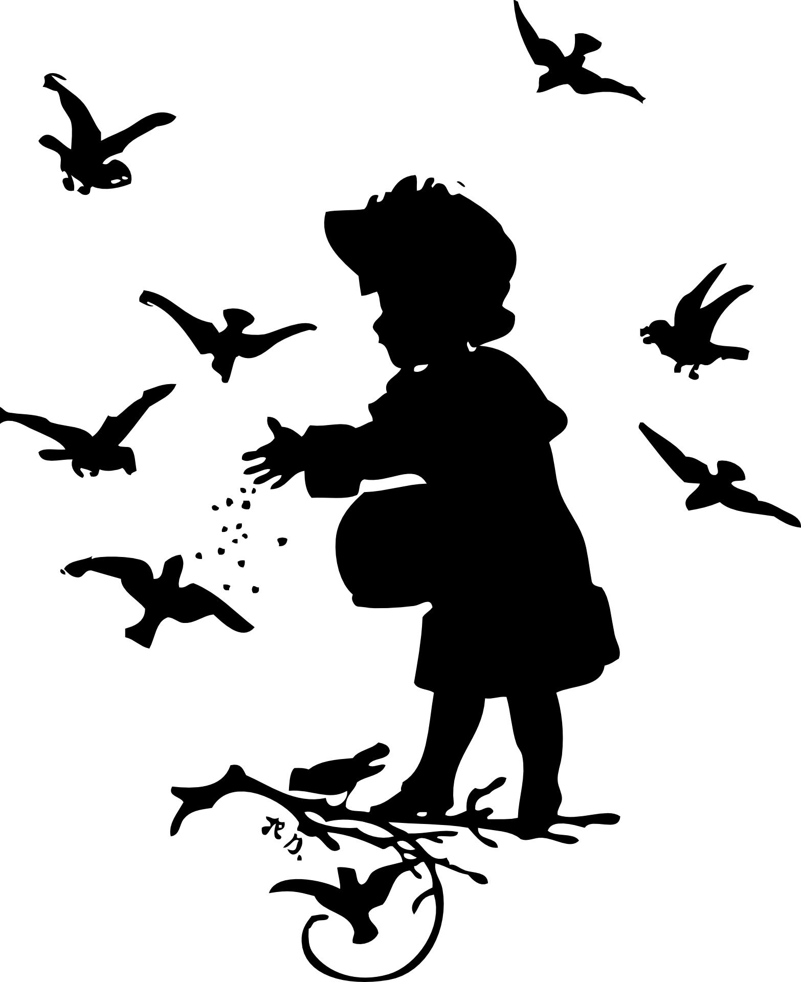 Kid,birds,feeding,silhouette vector