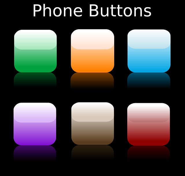 Phone flat button icon color scheme
