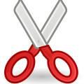 Red scissor icon vector