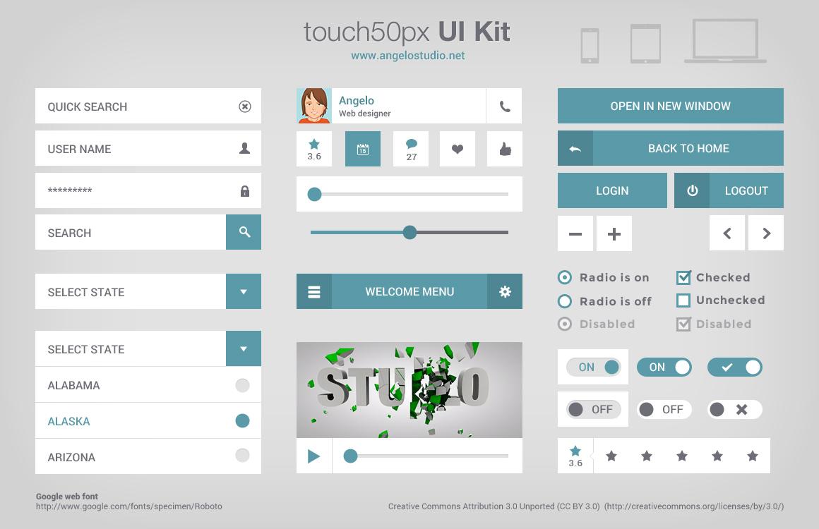 Simple UI Kit Free PSD For Desgins