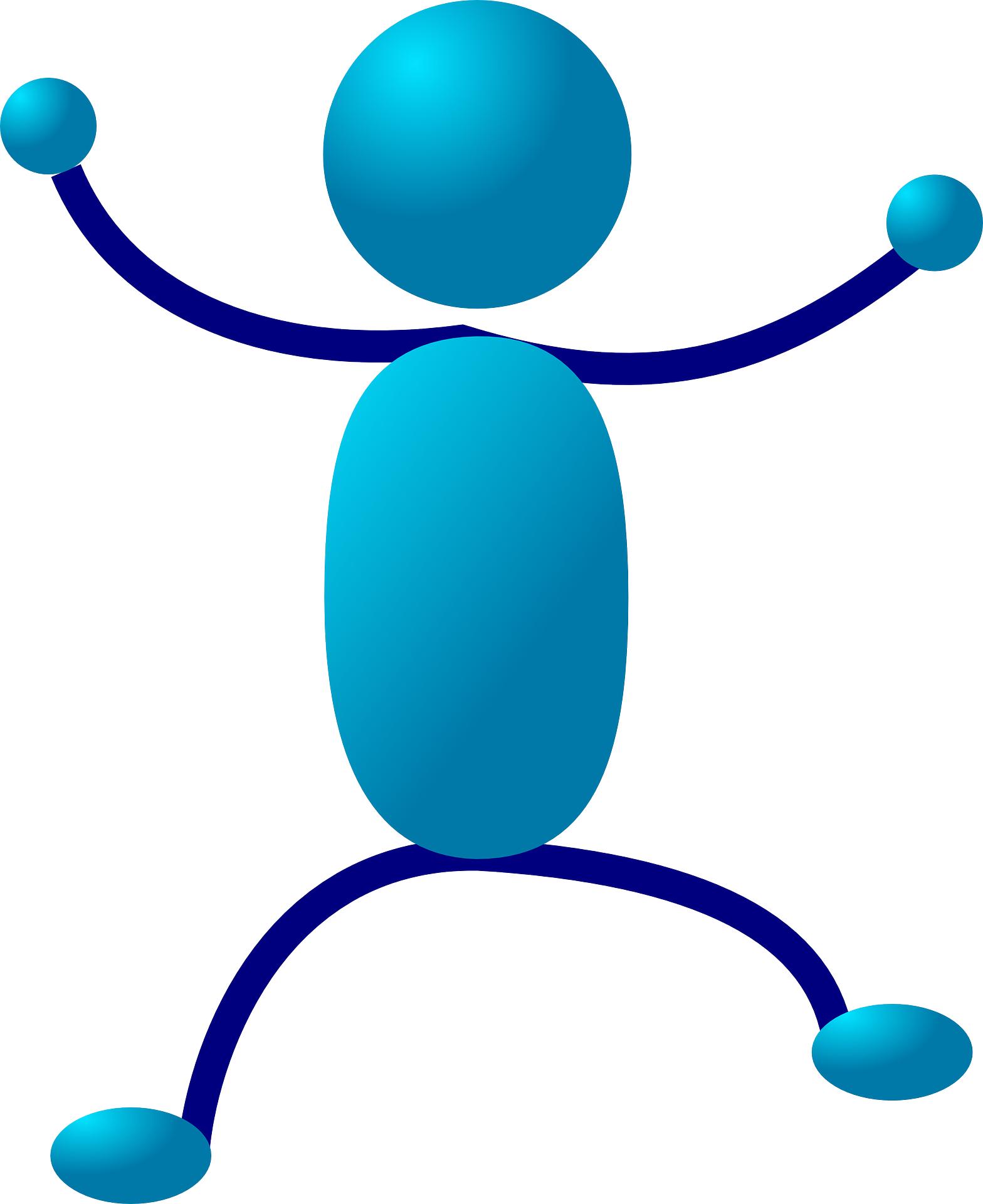 Stick figure,blue cartoon people vector