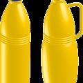 Yellow plastic bottles vector