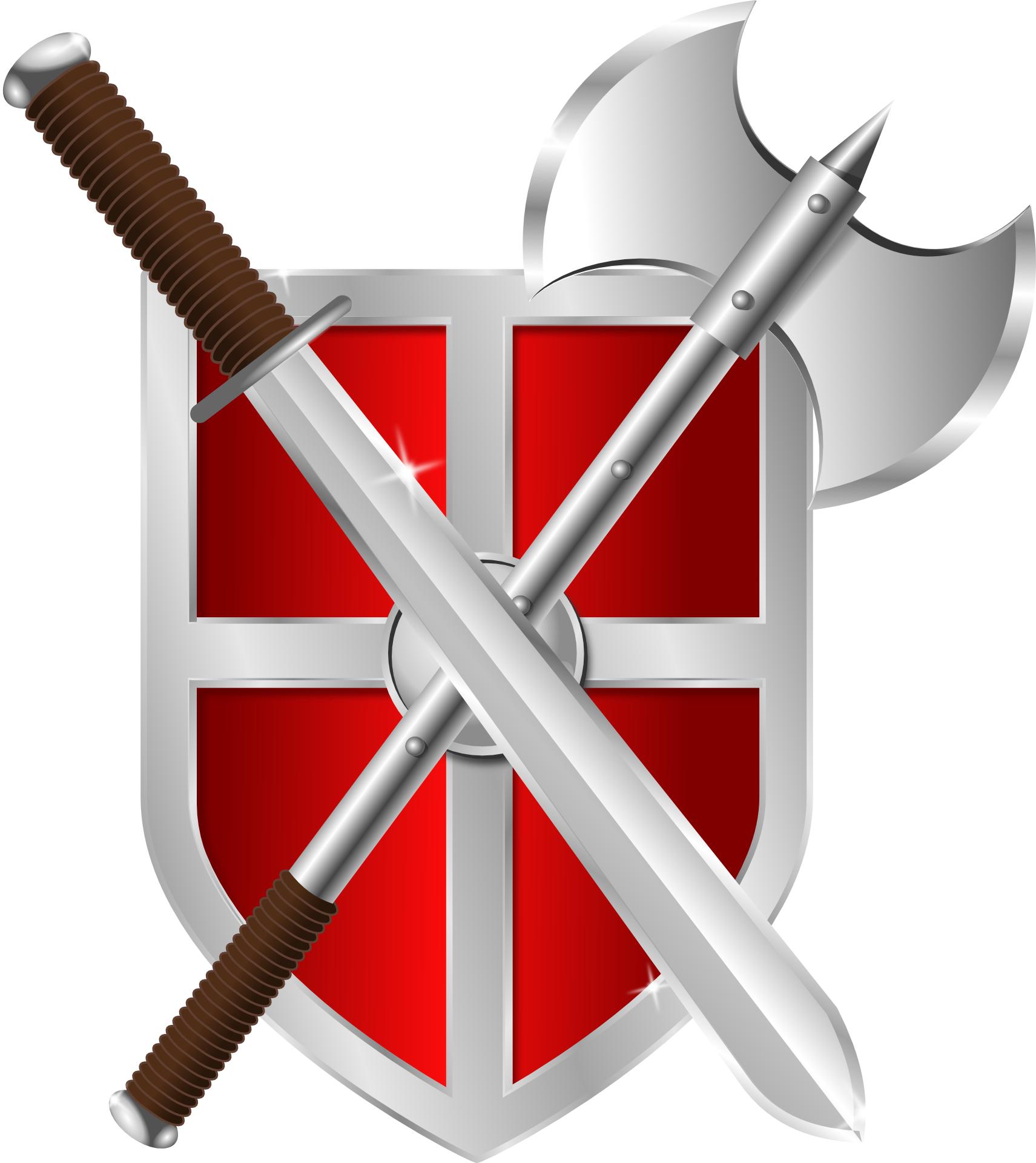 cartoon,shield, axe,sword vector