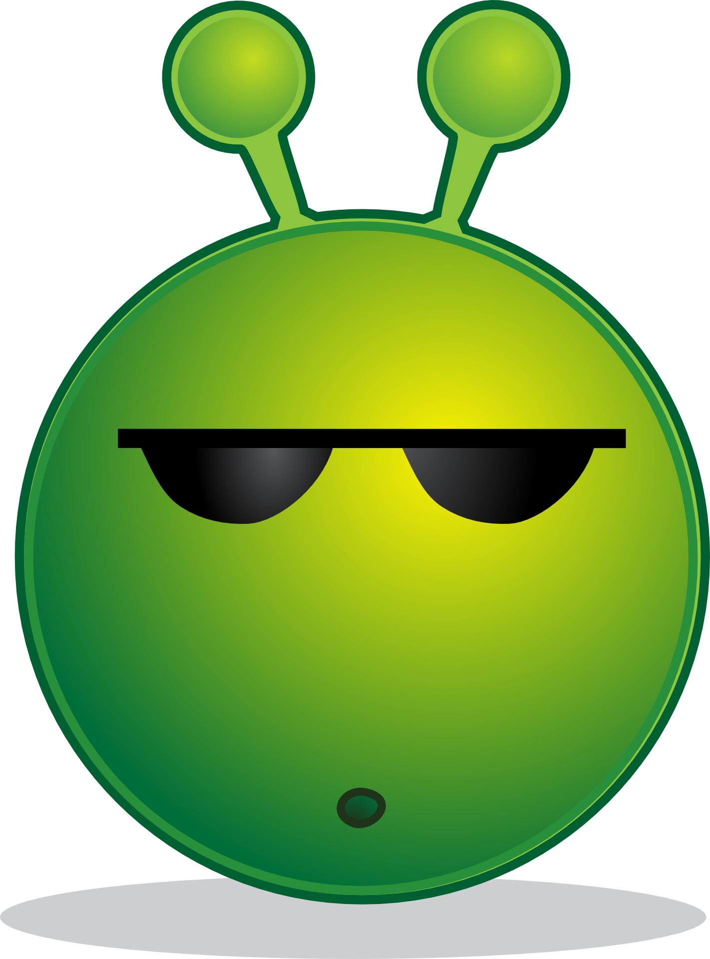 green alien smiley vector