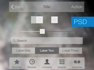 iOS 7 Iphone Flat UI Kit PSD For Free