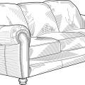 line drawing and sketch,cartoon sofa vector