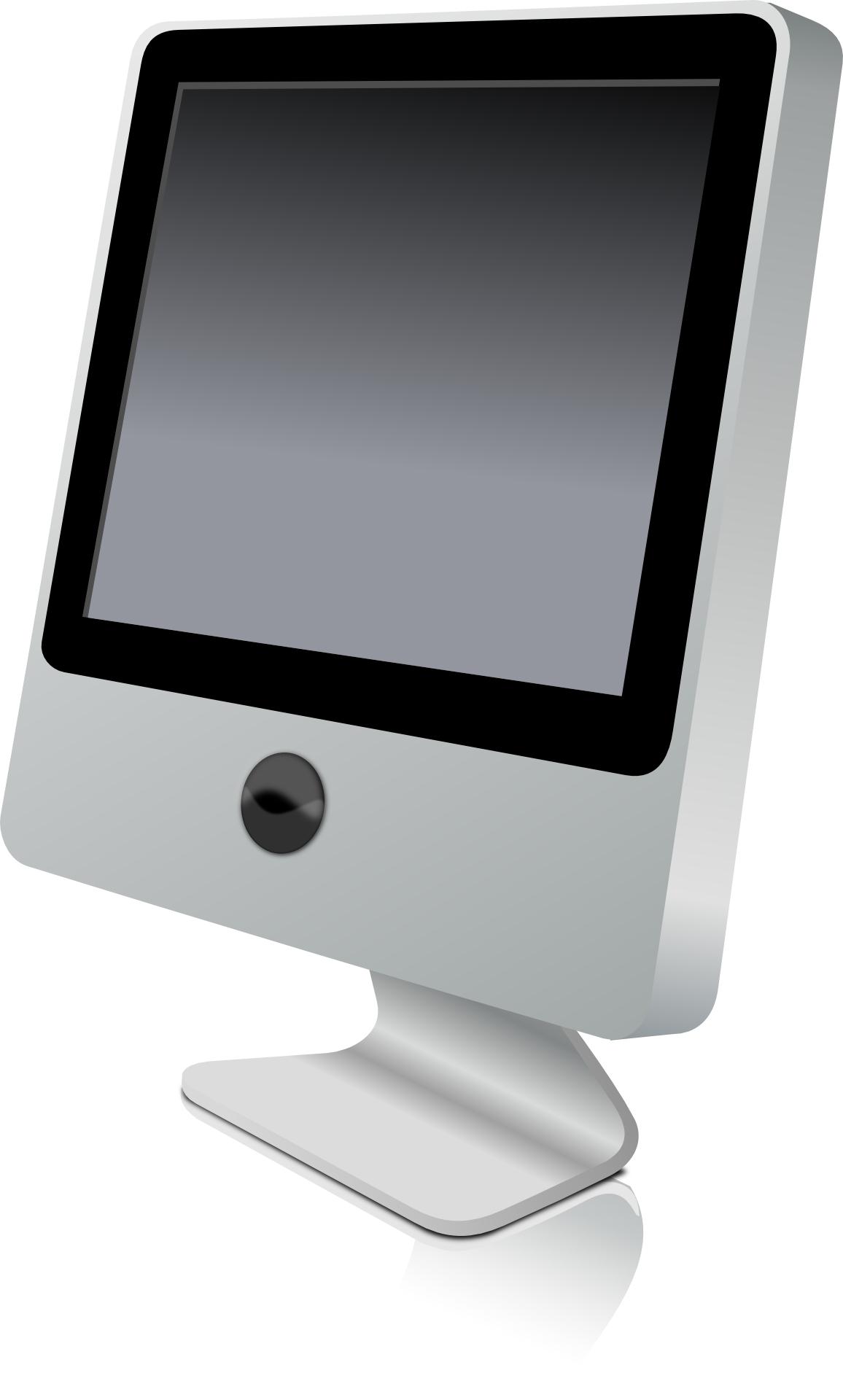 Silver computer moitor,LCD Screen vector