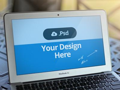 Free Flat Macbook Template Mockup PSD