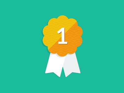 Free Flat Ribbon Award, Badge Icon PSD