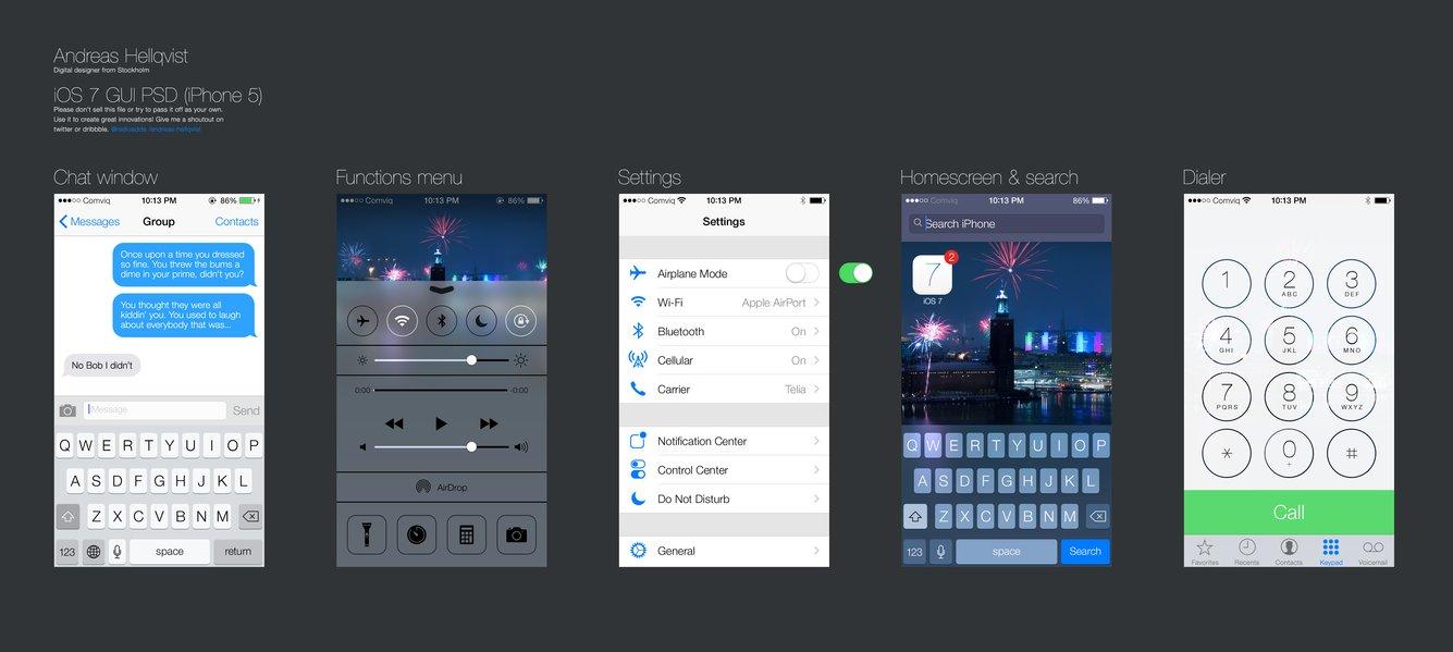 Free iOS 7 PSD mockup-GUI elements