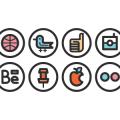 Twitter icon, Facebook icon,Instagram icon, Behance icon, Pinterest icon, Apple icon, Flickr icon