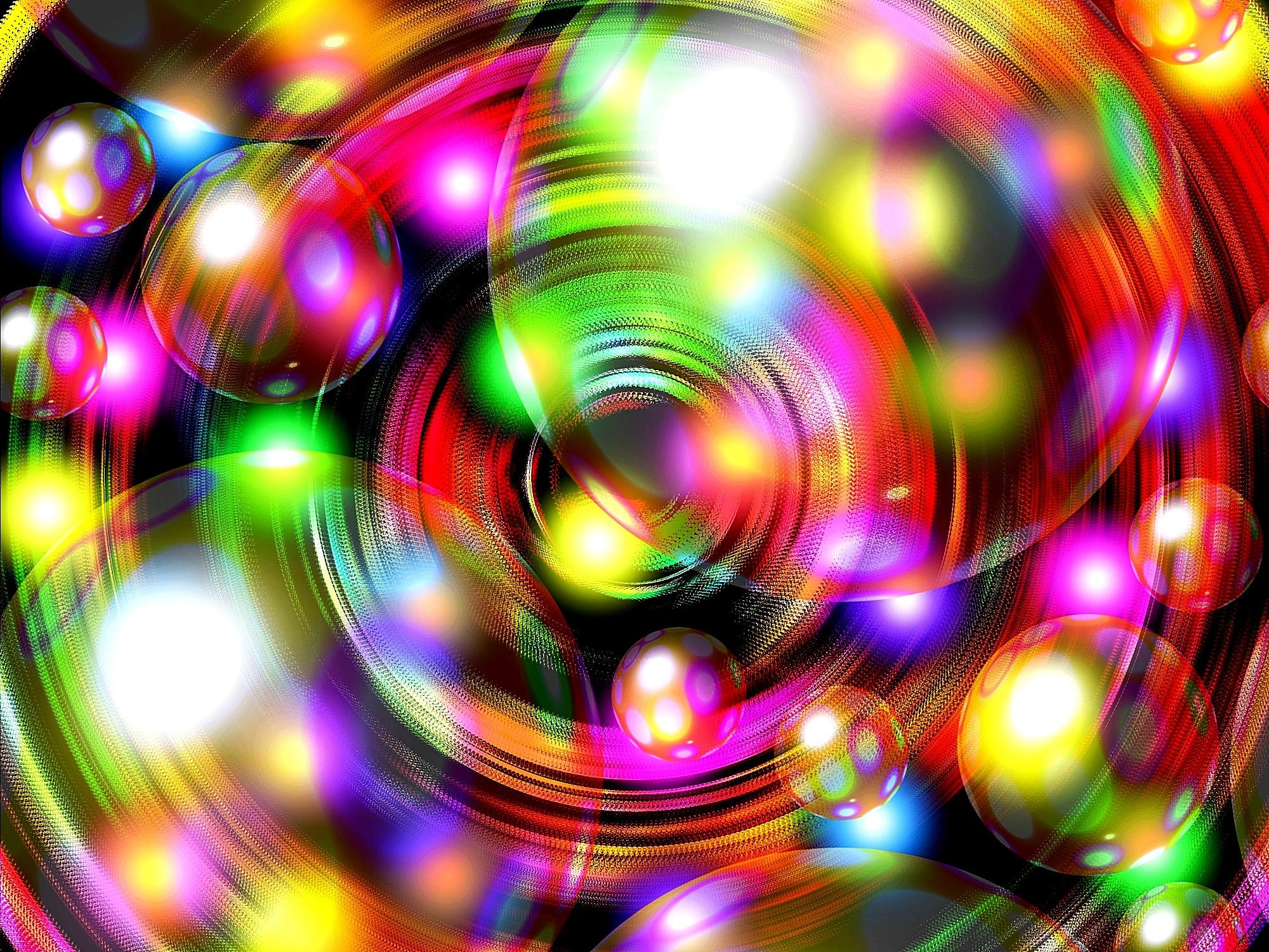 Fun varicolored soap bubbles