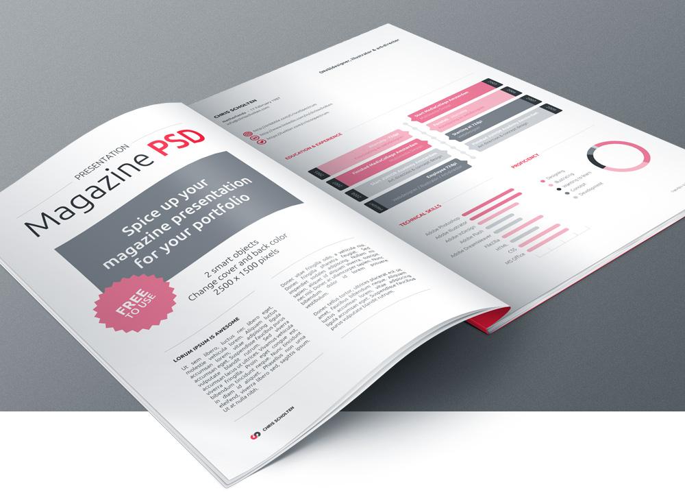 Magazine MockUp Template PSD Free