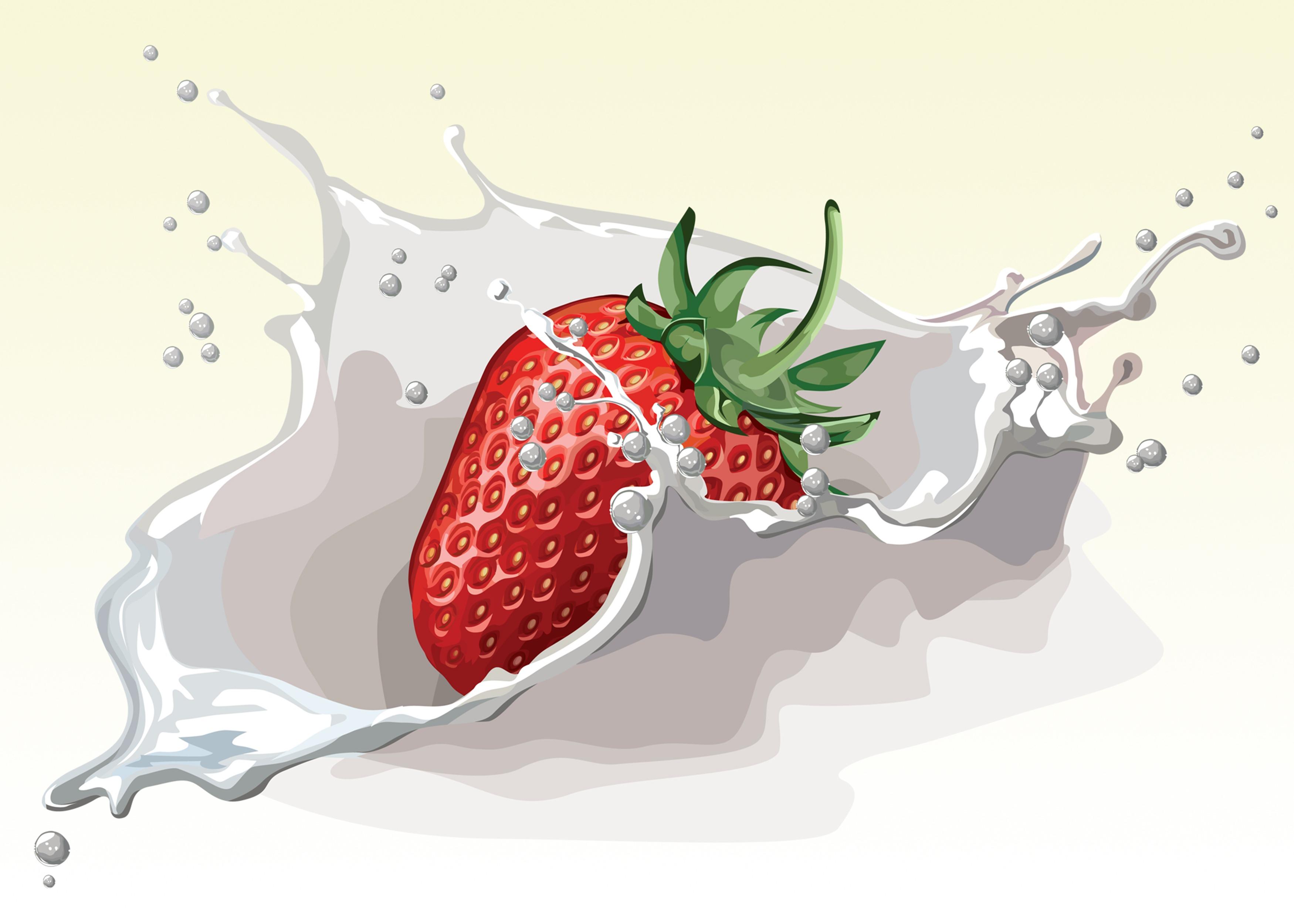 Strawberry fruit-splashing-art