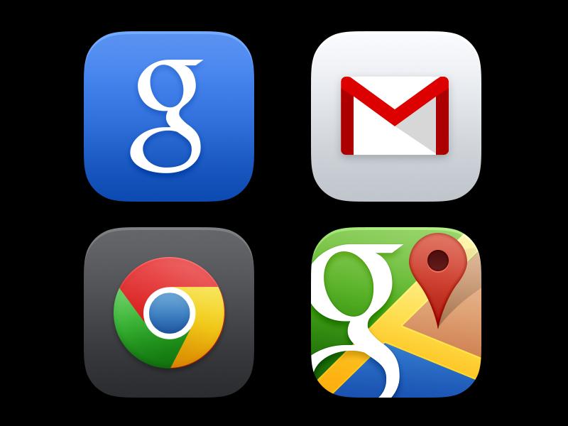 iOS 7 app icons-google/gmail/map/chrome icons psd