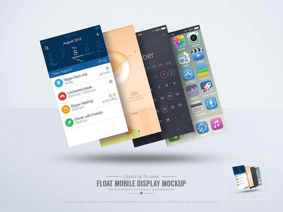 Free Mobile Phone Display Mockup PSD