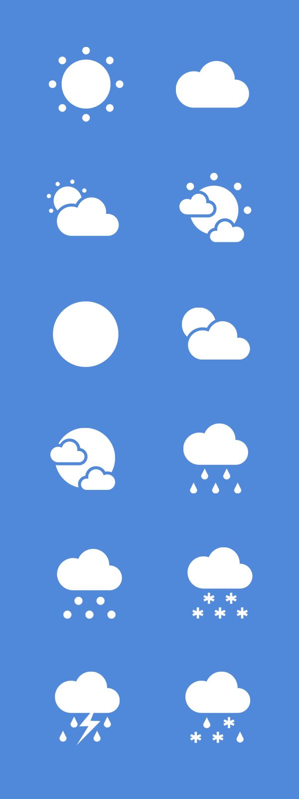 Free PSD- Flat Weather Icons-Sunny Cloudy Rain Sleet Icons