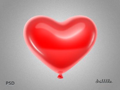 Red Heart-shaped Balloon PSD