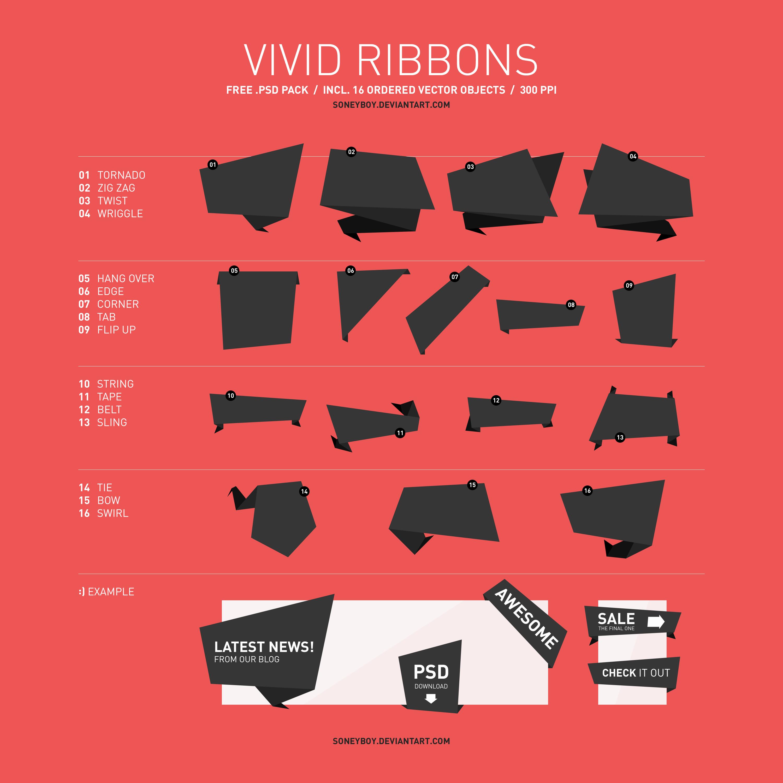 Free Vector Ribbons PSD