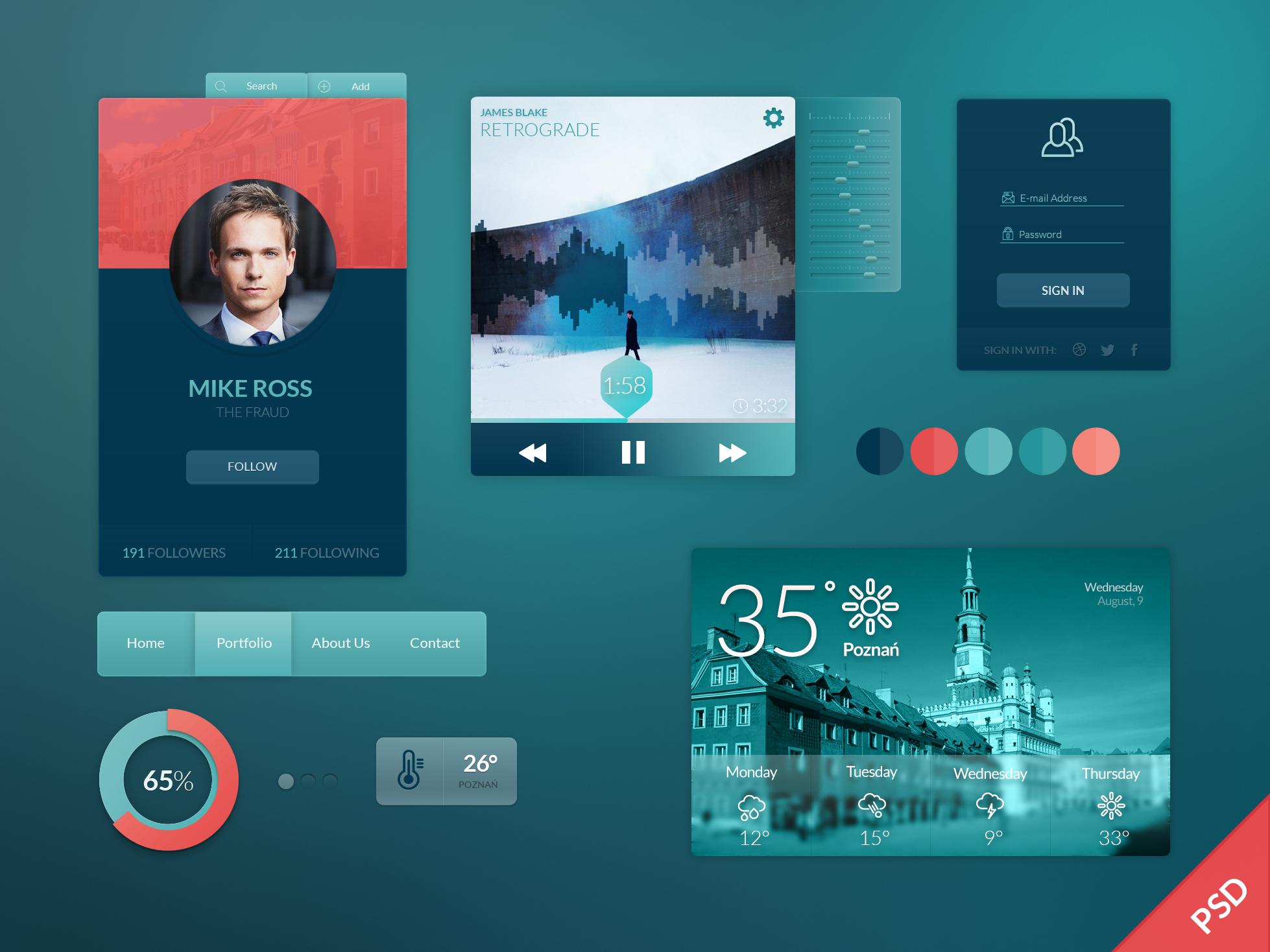 Free Widgets-UI Kit PSD