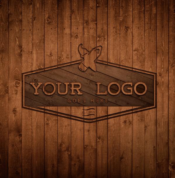 Free Wood Logo MockUp/Template PSD