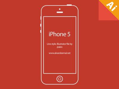 Freebie-iPhone 5 line style vector illustration
