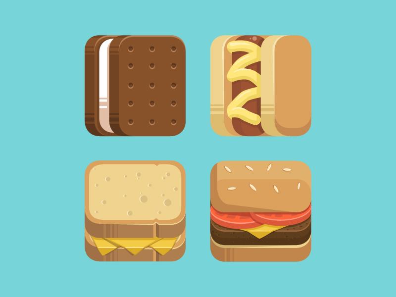 Vector Food icons-Cheese,Hot Dog,Ice Cream,Hamburger
