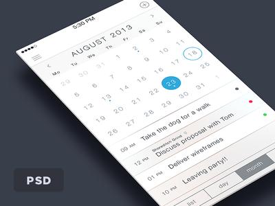 iOS 7 Calendar Free PSD