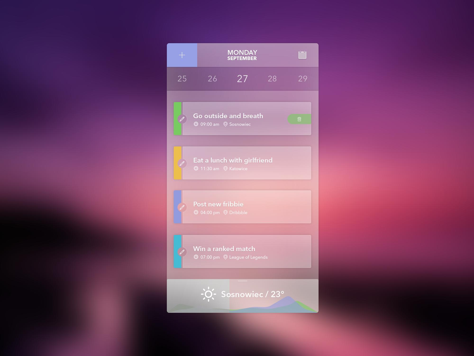 iOS Iphone Transparent UI-Agenda -Weather Widget