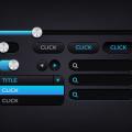 Cool Dark UI Kit PSD